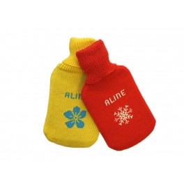 Hot water bottle in personalized wool cover